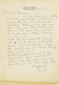 Autographs:Letters, 1949 Ty Cobb Handwritten Signed Letter. Single page of handwritten correspondence was directed to the father of the Yankee'...
