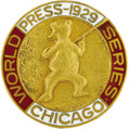 Baseball Collectibles:Others, 1929 World Series Press Pin (Chicago Cubs). The bat-wielding beardisplays exceptional detail and is free of any wear that i...