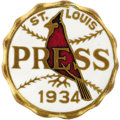 Baseball Collectibles:Others, 1934 World Series Press Pin (St. Louis Cardinals). Extremelypopular pin with collectors due to its Gashouse Gang associatio...