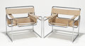 Furniture, MARCEL BREUER (Hungarian/American,1902-1981). Wassily (pair of chairs), circa 1970. Tubular steel, original canvas. 29 x... (Total: 2 Items)