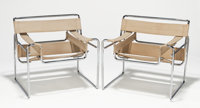 MARCEL BREUER (Hungarian/American,1902-1981) Wassily (pair of chairs), circa 1970 Tubular steel, ori