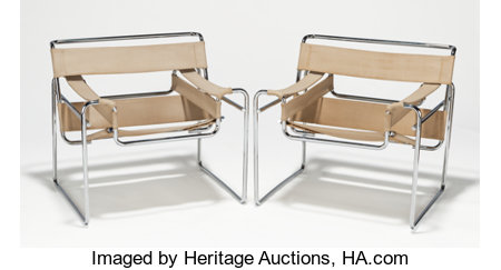 MARCEL BREUER (Hungarian/American,1902-1981)Wassily (pair of chairs), circa 1970Tubular steel, original canvas29 x... (Total: 2 Items)