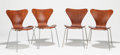 Furniture : Continental, ARNE JACOBSEN (Danish, 1902-1971). Model 3107 (set of fourchairs), 1955. Cherry wood, chromed steel. 29-1/2 x 17-3/4 x ...(Total: 4 Items)