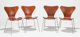 ARNE JACOBSEN (Danish, 1902-1971) Model 3107 (set of four chairs), 1955 Cherry wood, chromed steel 29-1/2 x 17-3/4 x...