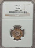 Proof Indian Cents: , 1862 1C PR64 NGC. NGC Census: (99/110). PCGS Population (136/104). Mintage: 550. Numismedia Wsl. Price for problem free NGC...