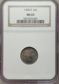1908-D 10C MS65 NGC. NGC Census: (18/12). PCGS Population (13/17). Mintage: 7,490,000. Numismedia Wsl. Price for problem...