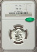 Washington Quarters: , 1932 25C MS66 NGC. CAC. NGC Census: (96/2). PCGS Population(193/3). Mintage: 5,404,000. Numismedia Wsl. Price for problem ...
