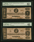 Confederate Notes:1862 Issues, T54 $2 1862 PF-6 Cr. 391 Two Consecutive Examples.. ... (Total: 2notes)
