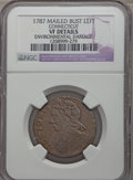 1787 COPPER Connecticut Copper, Mailed Bust Left -- Environmental Damage -- NGC Details. VF. NGC Census: (8/48). PCGS Po...