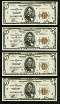 Small Size:Federal Reserve Bank Notes, Fr. 1850-C $5 1929 Federal Reserve Bank Notes. Four Consecutive Examples. Crisp Uncirculated or Better.. ... (Total: 4 notes)