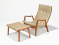 Furniture, MILO BAUGHMAN (American, 1923-2003). Scoop Armchair and Ottoman, circa 1955, Thayer Coggin. Walnut and leather upholster... (Total: 2 Items)