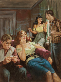 HOWELL DODD (American, 1910-2005) Together We Smoke, Crime magazine cover, March 1953 Gouache on pap