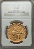 Liberty Double Eagles: , 1871-S $20 AU53 NGC. NGC Census: (211/926). PCGS Population (85/262). Mintage: 928,000. Numismedia Wsl. Price for problem f...