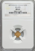 California Fractional Gold: , 1875 25C Indian Round 25 Cents, BG-878, R.3, MS63 NGC. NGC Census:(6/8). PCGS Population (61/67). ...