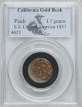 1857 1.5 -Grams Pinch of Gold Dust, S.S. Central America. PCGS. 1.5 grams of California gold dust in PCGS holder, recove...