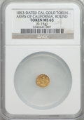 California Gold Charms, 1853 Arms of California Gold Token, Round, MS65 NGC. 0.15 gm....