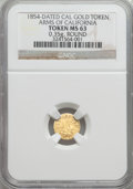 California Gold Charms, 1854 Arms of California Gold Token, Round, MS63 NGC. 0.35 gm....