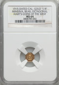California Gold Charms, 1915 Minerva, Bear, 1/4 California Gold, Octagonal, MS64 NGC. Hart's Coins of the West....