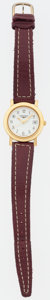 "Luxury Accessories:Accessories, Longines Gold Flagship Watch with Burgundy Leather Strap. Goodto Very Good Condition. 6.5"" Length. ..."