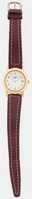 "Longines Gold Flagship Watch with Burgundy Leather Strap Good to Very Good Condition 6.5"" Length<"