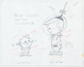 Animation Art:Production Drawing, The Jetsons Elroy Jetson and a Martian Animation LayoutDrawing (Hanna-Barbera, 1962)....