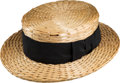 Baseball Collectibles:Hats, 1920's Ty Cobb Endorsed Straw Hat....