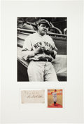 Autographs:Others, Early 1930's Babe Ruth & Bill Dickey Multi Signed CutDisplay....