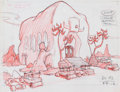 Animation Art:Production Drawing, The Pebbles and Bamm-Bamm Show Water Buffalo Lodge ConceptDrawing (Hanna-Barbera, 1971)....