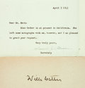 "Autographs:Authors, Willa Cather Card Signed. 6.25"" x 2.75"". Also included is a typed letter from the Pulitzer Prize-winning author's secretary ..."
