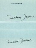"""Autographs:Authors, Theodore Dreiser Signatures (2) on a sheet of the author's personal stationery. 7.25"""" x 10.5"""", [n.p.], [n.d.]. Included is t..."""