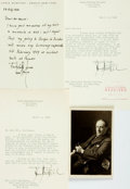 Autographs:Statesmen, Stanley Baldwin, John Foster Dulles (2), and Lewis Mumford Signatures. Baldwin, a British politician, signs a postcard beari...