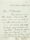 "Autographs:Statesmen, Oliver Wendell Holmes Sr. Autograph Letter Signed ""O. W.Holmes."" One page, 4.5"" x 6"", Beacon St. [Boston], April 14[..."