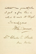Autographs:Authors, William James Autograph Letter Signed. Two pages of a bifolium, Cambridge, Massachusetts, April. 10, 1891, thanking Dr. Char...