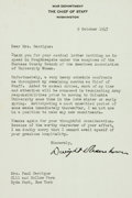 """Autographs:U.S. Presidents, Dwight Eisenhower Typed Letter Signed. One page, 7"""" x 9"""",Washington, October 9, 1947, on War Department, Chief of Staff,st..."""
