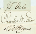 Autographs:Statesmen, Cut Signatures: Oliver Wendell Holmes Sr., Charles W. Eliot, andWilliam Osler. The poet, the Harvard president, and the Can...(Total: 3 Items)