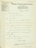 "Autographs:Statesmen, Booker T. Washington Letter Signed as the principal of the TuskegeeNormal & Industrial Institute. One page, 8.5"" x 11"", Tus..."