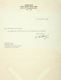 "Autographs:Military Figures, General George Patton Typed Letter Signed ""G. S. Patton Jr.""One page, ""Headquarters, Third United States Army,"" Sep..."