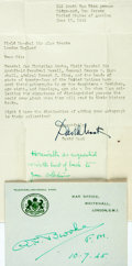 "Autographs:Military Figures, Field Marshall Sir Alan Brooke Signature on his military card (""War Office, Whitehall, London"") dated July 10, 1945, 4.5..."