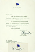"""Autographs:Military Figures, Fleet Admiral Chester Nimitz Typed Letter Signed and Card Signed. Both are signed in bold ink """"C. W. Nimitz."""" In the let..."""