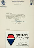 "Autographs:Military Figures, General Omar Bradley Signature ""Omar N. Bradley"" September1945 on a bifolium card printed with Twelfth Army Group infor..."
