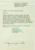 """Autographs:Military Figures, General Douglas MacArthur Signature. One page, 6"""" x 10"""". The general signed this letter from an autograph seeker from New Je..."""