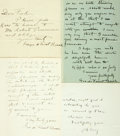 Autographs:Artists, George de Forest Brush Autograph Letters (3) Signed, dated 1895 and 1903. The American artist writes three different recipie... (Total: 4 Items)