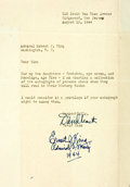 """Autographs:Military Figures, Admiral Ernest J. King Signature. Found at the lower edge of a 6.5"""" x 9"""" typed letter asking for his autograph, Admiral King..."""