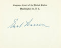 "Autographs:Statesmen, Supreme Court Justice Earl Warren Card Signed. Placed upon a 4.5"" x3.5"" Supreme Court card. With the original transmittal e..."