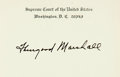 "Autographs:Statesmen, Supreme Court Justice Thurgood Marshall Card Signed. Placed upon a4.5"" x 3.25"" Supreme Court card. With the original transm..."