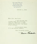 """Autographs:Celebrities, Eleanor Roosevelt Typed Letter Signed. One page, 6"""" x 8.25"""", on herpersonal letterhead, New York, October 4, 1950, to Mrs. ..."""