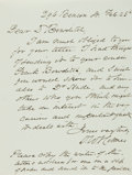 "Autographs:Statesmen, Oliver Wendell Holmes Sr. Autograph Letter Signed. One page withintegral blank, 4.5"" x 6"", [Boston], February 25, n.y., to ..."