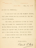 "Autographs:Authors, Author Edward E. Hale Typed Letter Signed. One page, 5.25"" x 7"",Roxbury [Massachusetts], January 22, 1898, to Dr. Bowditch ..."