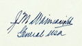 "Autographs:Military Figures, General Jonathan M. Wainwright Card Signed. 3.25"" x 1.75"". ""J MWainwright / General USA."" With the original transmittal..."