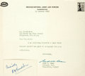 "Autographs:Military Figures, General Henry H. ""Hap"" Arnold Card Signed. 3"" x 1.5"", ""Cordially / H H Arnold."" With original transmittal envelope and n..."